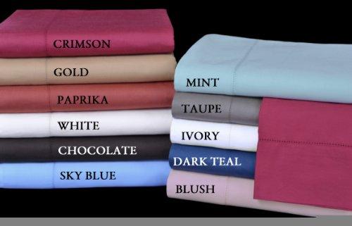 Camden Collection 350-Thread-Count 100-Percent Egyptian Cotton Sateen Twin Sheet Set, Crimson