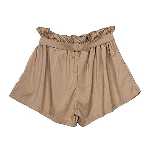 Khaki Eleganti Grazioso Donna Mare Tempo Waist Moda Shorts Pantaloncini Hotpants Fashion Monocromo Estivi Ragazze Libero High Baggy 5axfxnzP