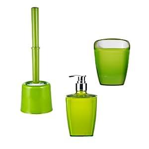 Ridder 229903050-350 - Accesorios para baño (escobillero, vaso y dispensador de jabón), color verde neón