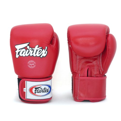 Fairtex Boxing Kickboxing Muay Thai Style Sparring Gloves Training Punching Bag Mitts (16 oz, Solid Red) ()