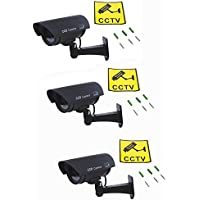 Neewer Waterproof LED AA Simulated Dummy CCTV Security Camera Set for Indoor and Outdoor Use Black 3 PCS