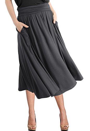 (TRENDY UNITED Women's Rayon Spandex High Waist Shirring Flared Pocket Skirt (S0030-CCL, XXL) )