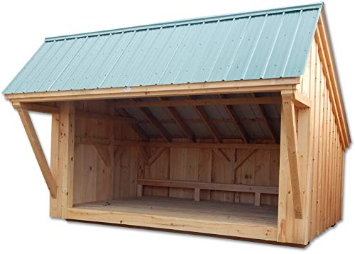 Timber Frame Post and Beam Adirondack Lean-To Shelter Plans - 8x12 Camp Alcove - Small Camping Structure with Built-in Bench - Step-By-Step DIY Plans (8x12)