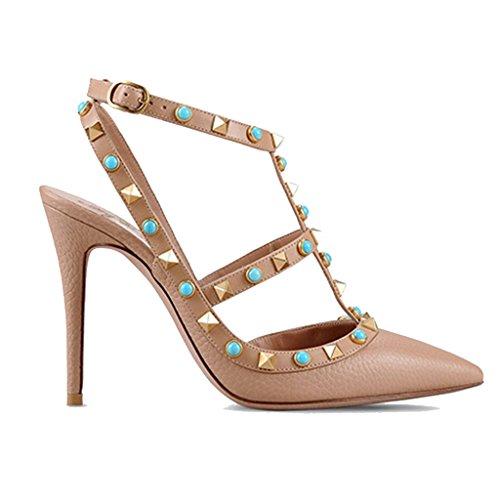 LYY.YY Zapatos De Mujer De Punta Estrecha con Remaches Zapatos Individuales Sandalias De Tacón Bajo De Primavera Y Verano (Altura del Tacón: 11-13Cm),Nude,40