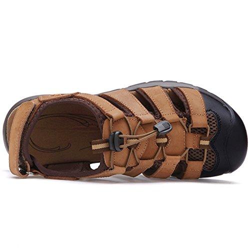 Luotuodage 2016 Nouveau Été Hommes En Cuir Respirant Casual Sandales, Pantoufles Hommes, Chaussures De Sport Café