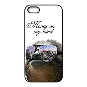 Funny Hipster Sloth Rubber Cell Phone Cover Case for iPhone 5 5s