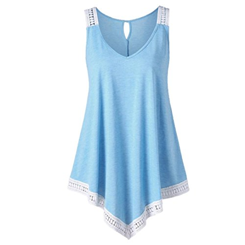 Wintialy Fashion Womens Casual V-Neck Swing Lace Asymmetrical Solid Vest Tank Tops Blouse