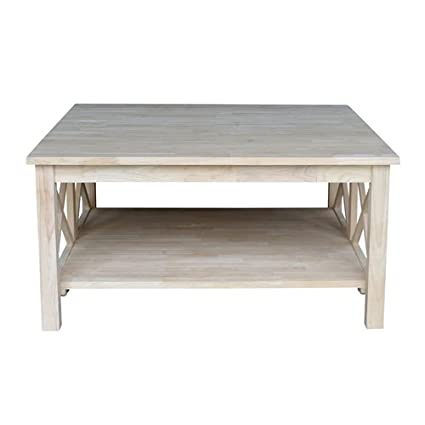 Amazoncom Square Unfinished Solid Wood Coffee Table With Bottom