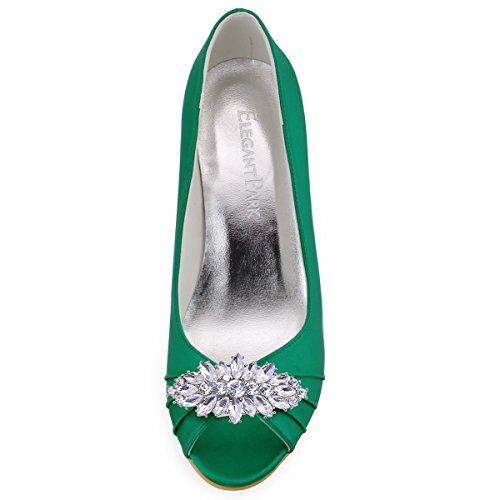 Elegantpark WP1547 Mujer Fiesta Cuña AF01 Desmontable Flores Rhinestone Zapatos Clips Satén Zapatos De Boda AW Verde