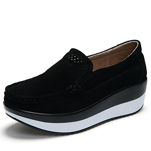 HKR-GF828-1heise36 Women Loafers Slip On Platform Sneakers Comfort Suede Driving Moccasins Shoes Black 6 B(M) US (Black On Platform Sneakers Slip)