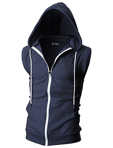 (Ohoo Mens Slim Fit Sleeveless Lightweight Zip-up Hooded Vest with Single Slide)