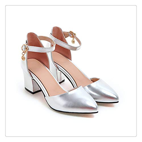 (DOUSTY& Shoes Woman 2018 Heels Spring Ladies Pumps Summer Two Piece Thick Heels Footwear Ankle Strap Shoes Sliver 34-43 Silver 9.5)