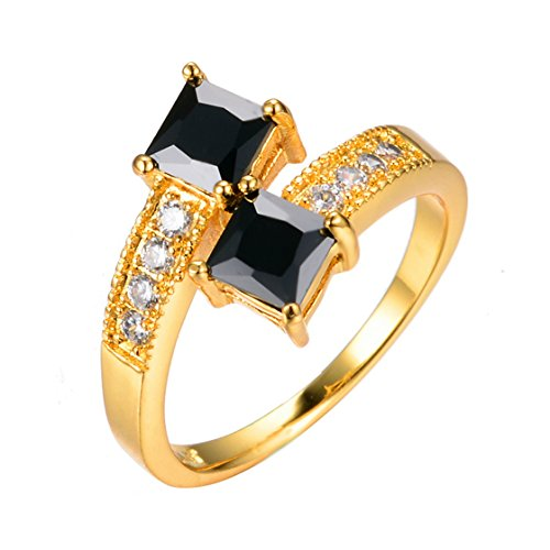 PSRINGS Double Black Square Zircon Stone Rings Yellow Gold Filled Wedding Party Finger Ring Fashion Jewelry - Square Black Emerald Mall Friday