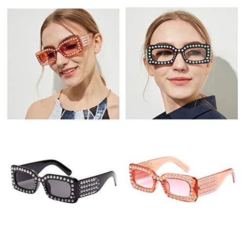 Sol para Vacaciones Gafas 2pcs UV de F Marco Playa Vija Artificiales Retro 400 Estilo Fityle de Espejo de Lentes Diamantes xaI4R1Hqw
