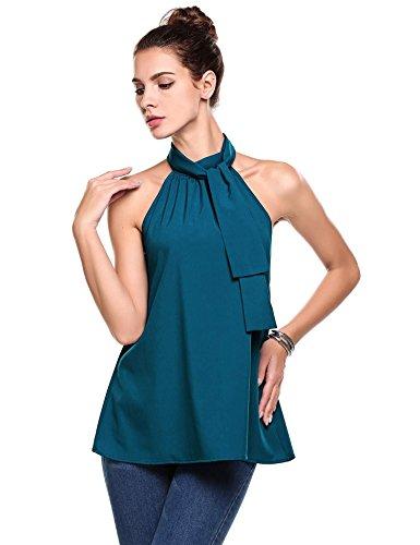Bifast Women Summer Strap Neck Off Shoulder Sleeveless Blouse Party Tank Top (Evening Halter Top)