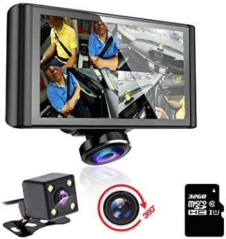 elebest 360 Degree HD Lens Car DVR Camera Black Box Full View Dual Dash Cam Front and Rear Dashboard Video Recorder 5 inches Touch Screen G-Sensor Loop Record Included 32GB Micro SD Card Easy Install
