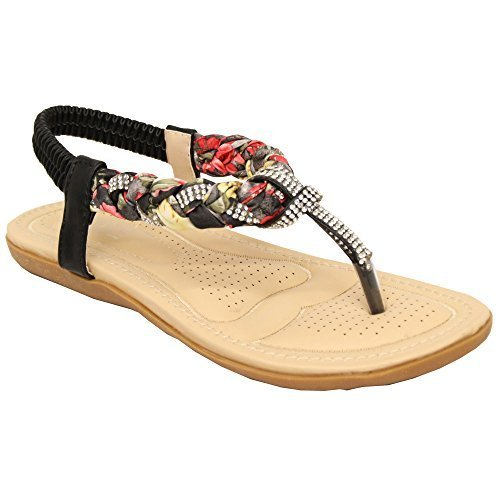 Ladies Flat Slip On Sandals Womens Toe Post Sling Back Shoes Diamante Party New Black - 1188 QJtPn