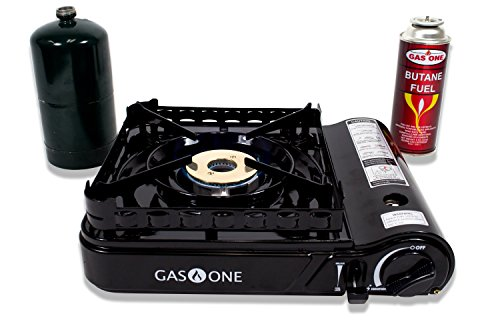 GAS ONE GS-3900P New Dual Fuel Propane or Butane Portable stove with Brass Burner Head, Dual Spiral Flame 15,000 BTU Gas Stove with Convenient Carrying Case Most Powerful Heat Output Stove 2017 Model