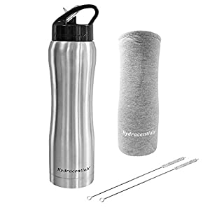 Hydracentials Stainless Steel Vacuum Insulated Water Bottle With Straw- 25 oz- Includes Custom Water Bottle Cover And 2 Straw Cleaners