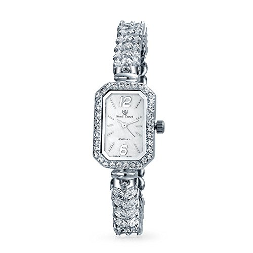 Bling Jewelry White MOP Rectangular Dial Wrist Cubic Zirconia CZ Fashion Statement Watch for Women for Bride Prom Silver Steel Back