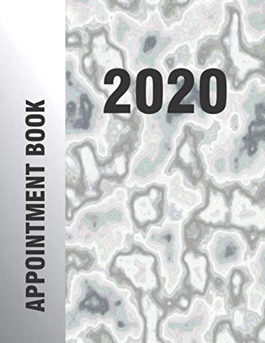 2020 Appointment Book: Faux Carrara Granite White Grey Marble Colored Cover Hourly Planner Organizer 365 Days
