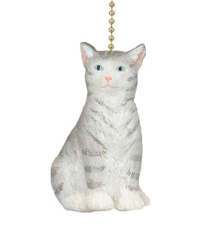 Clementine Design Gray Kitty Cat Ceiling Fan Pull