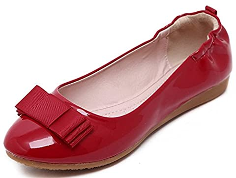 IDIFU Women's Comfy Bow Round Toe Closed Slip On Flats Low Top Office Boat Shoes Red 5 B(M) US