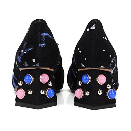 Chaussures Pompes EUR36UK354 Dames Rivet Faible Noir Tribunal Bloc NVXIE Talon Milieu BLUE Femmes Causal Fête Carré 1BnUqOaw
