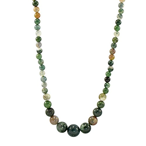 Paialco 6-14MM Round Moss Agate Muti-color Beads Graduated Necklace - Agate Moss Necklace