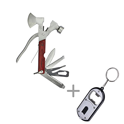 Meanhoo 10 in 1 Hammer Axe Outdoor Pocket tools Sport Camp Bike Stainless Steel Fold Multi Tools for Household Camping Hiking Hunting Outdoor Survival by Meanhoo