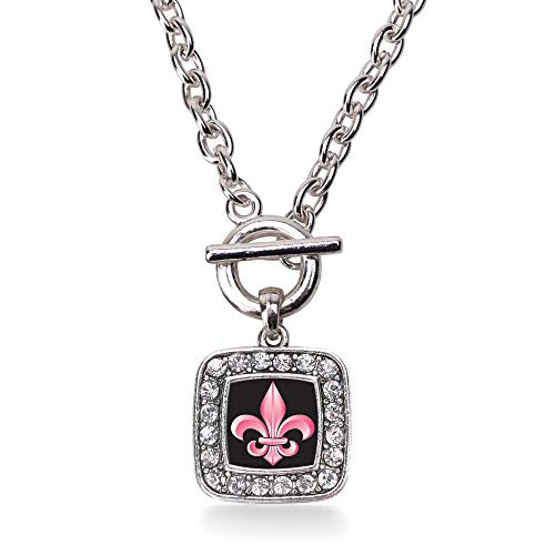Inspired Silver - Fleur De Lis Toggle Charm Necklace for Women - Silver Square Charm 18 Inch Necklace with Cubic Zirconia Jewelry ()