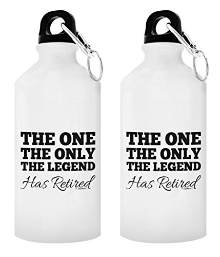 Happy Retirement Gifts for Women the One the Only the Legend Has Retired Police Retirement Gifts Nurse Retirement Gifts Retired Gift 2-Pack 20-oz Aluminum Water Bottles with Carabiner Clip Top - Police Legend 2