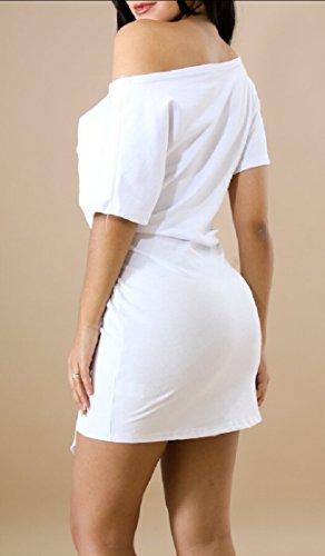 Sexy Summer Short Shoulder Sleeve Tuic Print Jaycargogo Letter White Dress One Women OHB5FWqYw