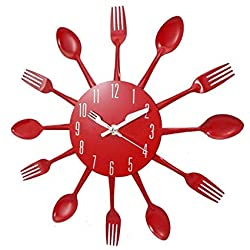 Hua Express Kitchen Wall Clock 3D Modern Creative Kitchen Cutlery Spoon Fork Timelike Wall Clock Wall Sticker Room Home Decoration (red)
