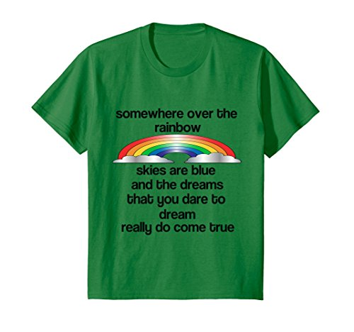 Kids Rainbow T-Shirt-Some Where Over The Rainbow 12 Kelly Green (Green Rainbow)