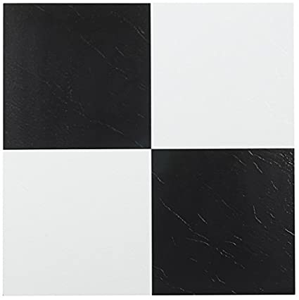 NEXUS Black White Inch X Inch Self Adhesive Vinyl Floor Tile - Black and white square vinyl flooring