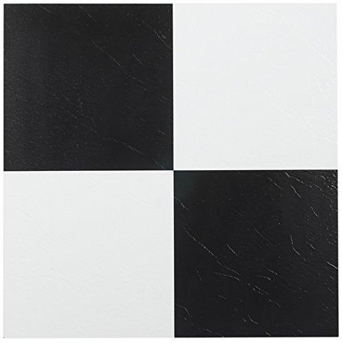 NEXUS Black & White 12 Inch x 12 Inch Self Adhesive Vinyl Floor Tile #103 Pack of 20 (Garage Flooring Vinyl)