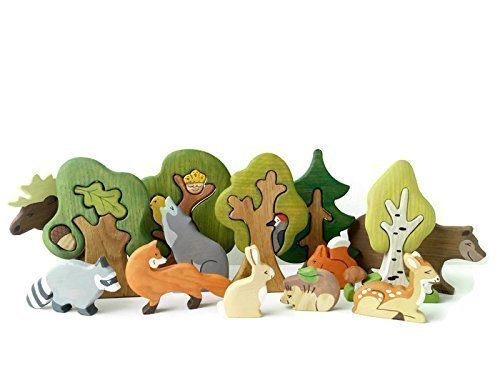 Toy Forest animals (9pcs) + Waldorf toy Trees (5pcs) Woodland animals play space Wild animal figurines