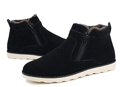 Lijeer Jungen Warm Gefütterte Outdoor Schneestiefel Stiefel Stiefeletten Schlupfstiefel Cotton Black