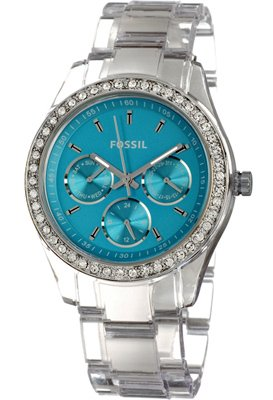 Fossil Women's ES2603 Clear Plastic Bracelet Turquoise Glitz Analog Dial Multifunction Watch