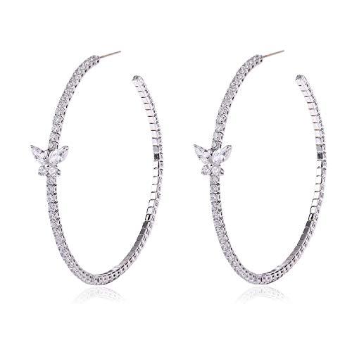 Silver Pierced Heart - YILIBAO Silver Large Hoop Earrings