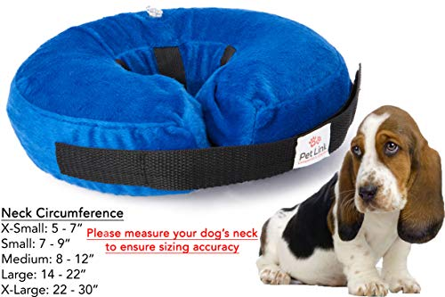 (Inflatable Dog Collar, Recovery Cone, After Pet Surgery, Prevent Dogs from Biting & Scratching, Adjustable Thick Strap, Soft Comfortable Donut (Medium))