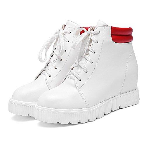 VogueZone009 Damen Schnüren Mittler Absatz PU Leder Gemischte Farbe Niedrig-Spitze Stiefel Weiß