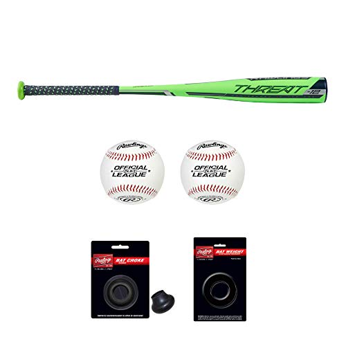 Rawlings 2019 Threat USA Baseball Bat (28″/16 oz) and Bat Accessories – Includes Official League Baseballs, Doughnut Style Bat Weight and Bat Choke – Value Bundle