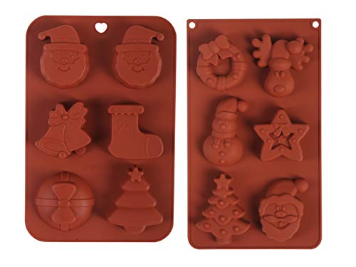 Christmas Silicone Baking Molds 2 Pack,Cake Pans|Chocolate Molds|Ice Cube Tray|Muffin Cups|Donut Pans|Soup Molds|Candy Molds with 12 Shapes of Santa Claus Elk Snowman Christmas Trees Socks and Others