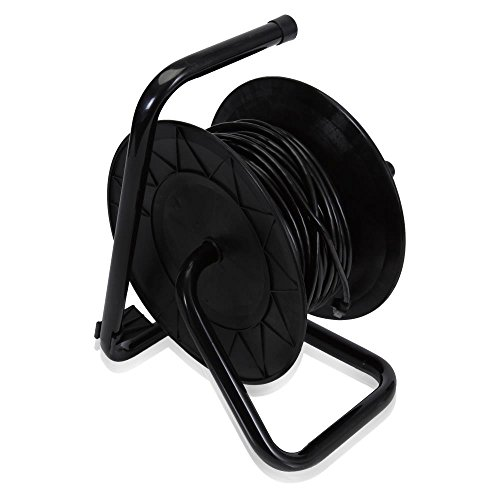 Pyle Heavy Duty Extension Cable Reel - Portable 83 ft Electrical Power Cord Industrial Grade Cat 5 with Male & Female RJ45 Connector Retractable Wire - Outdoor Office & Professional Used PCATCBL75 by Pyle (Image #1)