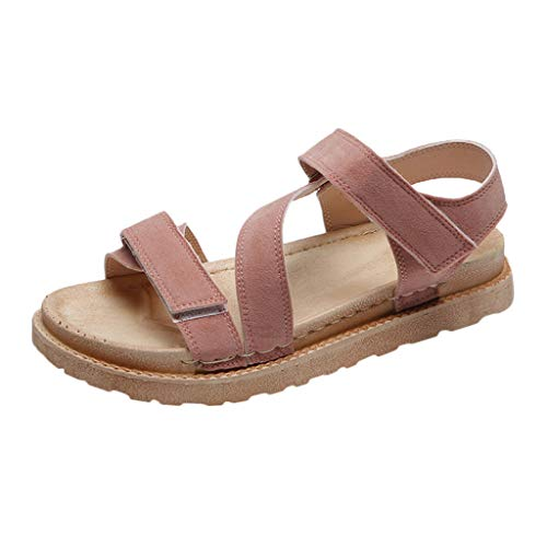 (Womens Sandals Open Toe Ankle Strap Straw Casual Espadrilles Wedge Thick Bottom Grain Large Size Roman Shoes Pink)