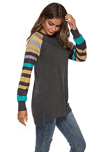 (Roshop Women's Casual V-Neck Long Sleeves Pocket Solid Color Sweater Shirts Tunic Blouse Tops (Yellow Grey, XL))