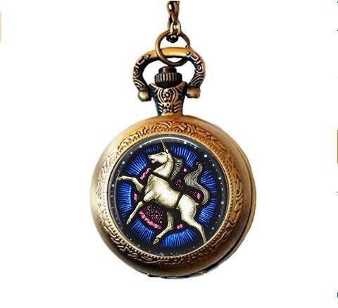 Art Nouveau Watch - stap Unicorn Pendant Necklace - Unicorn Stained Glass Necklace - White Unicorn Jewelry - Art Nouveau Pendant - Renaissance Unicorn Pocket Watch Necklace