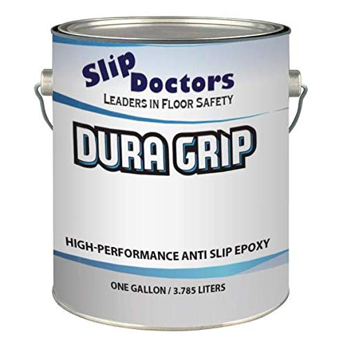 Non-Slip Textured Paint, Barefoot & Pet Friendly to Reduce Slip and Falls. Commercial & Residential Use. Dura Grip (Light Gray, Gallon) (Best Paint To Use On Aluminum Boat)